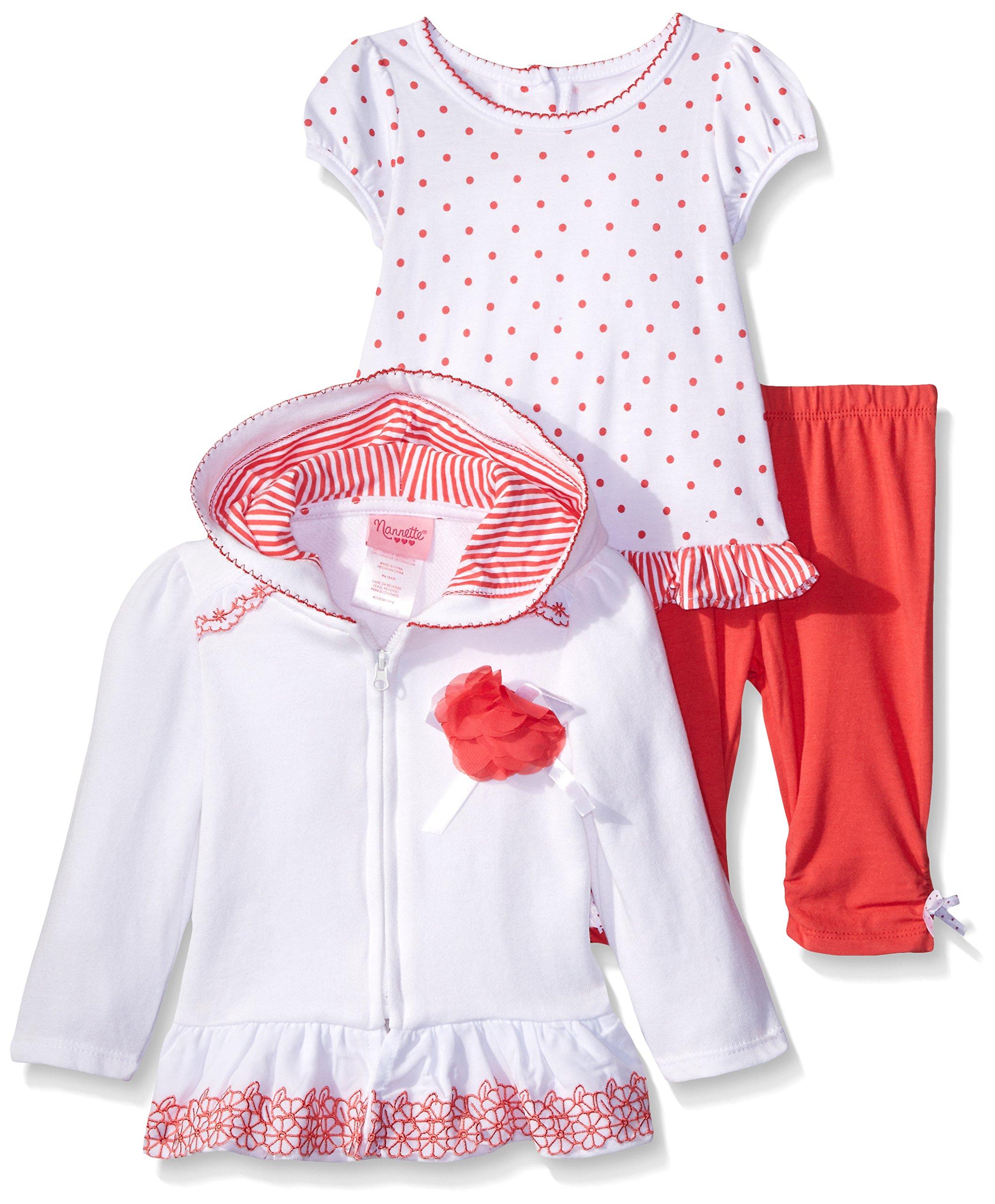Nannette Little Girls 3 Piece Hooded Jacket Shirt and Legging Set, White, 24 Months