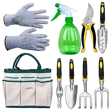 LANBOZITA Garden Tools,9 Piece Gardening Tools Set Including Trowel, Transplanter, Cultivator, Pruner, Weeder, Weeding Fork, Canavas Tote, Sprayer Bottle and Gloves