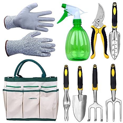 LANBOZITA Garden Tools,9 Piece Gardening Tools Set Including Trowel,  Transplanter, Cultivator,