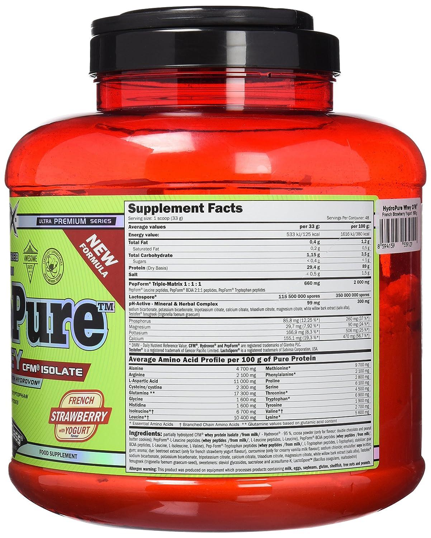 Amix Hydropure Whey CFM 1,6 kg Fresa-yogurt: Amazon.es: Salud y cuidado personal