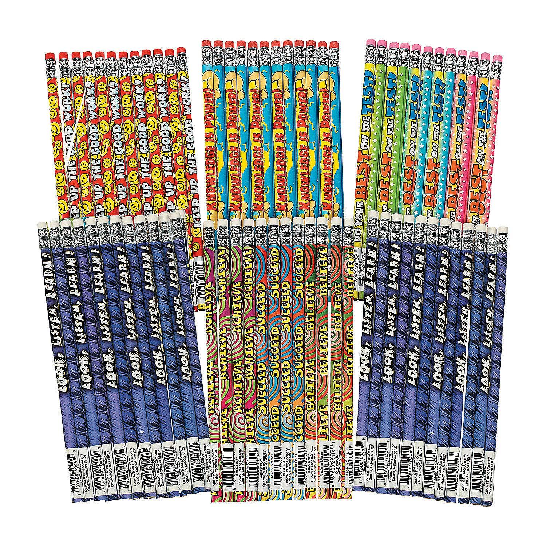 Fun Express - Motivational Pencil Assortment (144pc) - Stationery - Pencils - Pencils - Printed Assortments - 144 Pieces by Fun Express (Image #1)