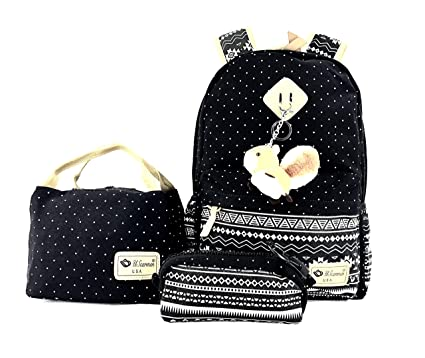 b1f9f8e8203c Women's boy's girl canvas backpack, lunch bag, pouch bag 3Pcs. set for  school bag daypack laptop bag