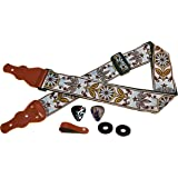Guitar Strap Unique Vintage Woven W/ FREE BONUS- 2 Picks + Strap Locks + Strap Button. For Bass, Electric & Acoustic Guitars. The Best Guitarist Gift By Art Tribute