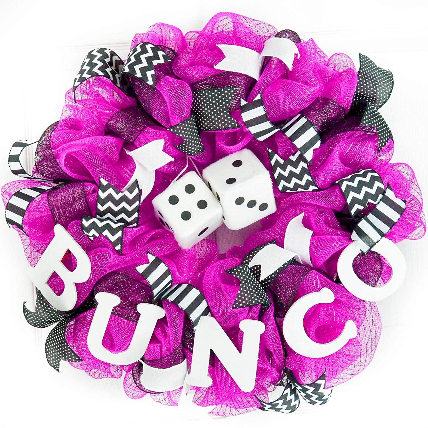 Bunco Dice Party Door Wreath; Pink, Black, White