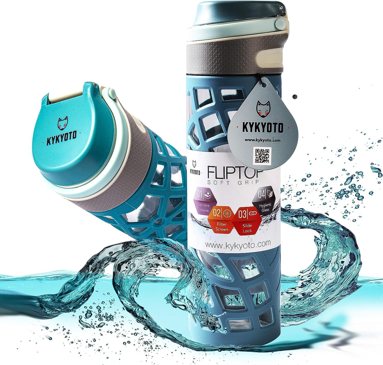 KYKYOTO - Botella de cristal con funda de silicona 600 ml (20oz) Flip Top, se abre con 1 clic – 100% a prueba de fugas libre de BPA – Botella de cristal para niños, oficina, fitness y más