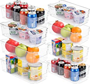 Set of 8 Refrigerator Pantry Organizers-Includes 8 Organizers (4 Large & 4 Small Drawers)-Stackable Organizers for Freezers,Kitchen Countertops and Cabinets-BPA Free Clear Plastic Pantry Storage Racks