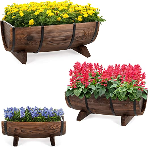 Mejor elección productos jardín decoración rústico madera conjunto de 3 medio barril macetero: Amazon.es: Jardín