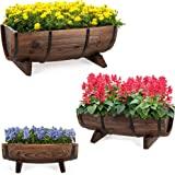 Best Choice Products Set of 3 Wooden Half Barrel Garden Planters Set Rustic Decorative Flower Beds for Plants, Herbs, Veggies
