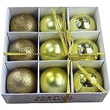 Festive Season Gold Shatterproof Christmas Balls Ornaments, Tree Decorations (Set of 9, 80mm)