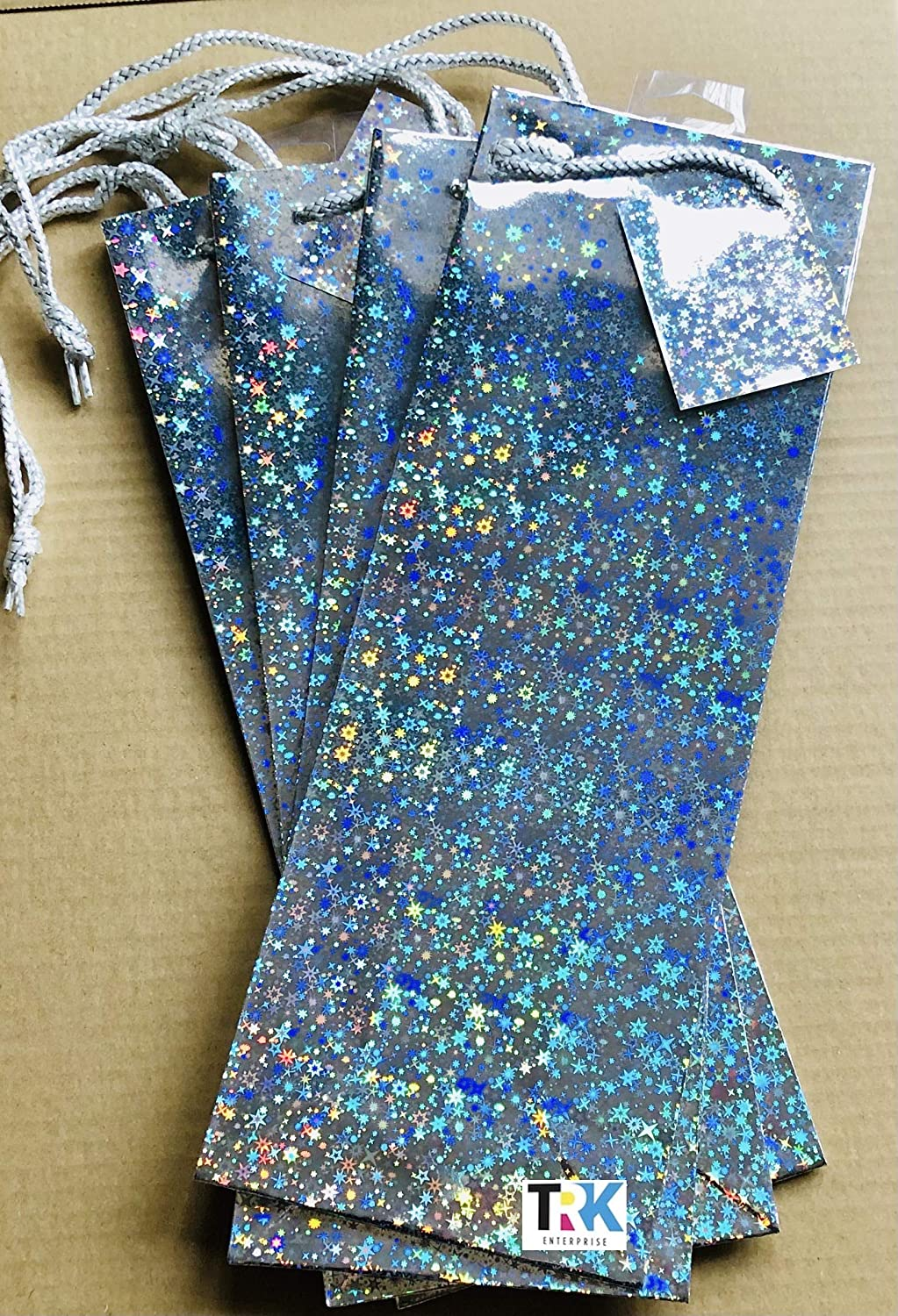 Silver Christmas Holographic Bottle Gift Bag 36cm Pack of 4