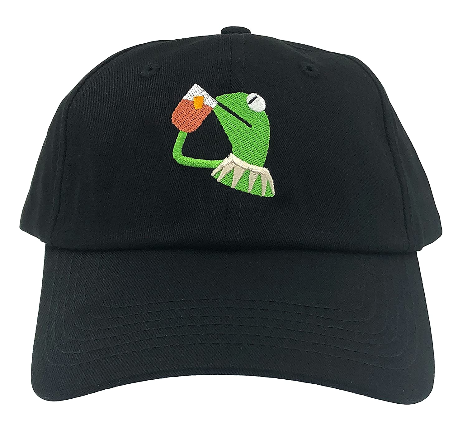 73ba1d743ed87 Amazon.com  SYWHPS Kermit The Frog Dad Hat Cap Sipping Sips Drinking Tea  Champion Lebron Costume (Black)  Sports   Outdoors