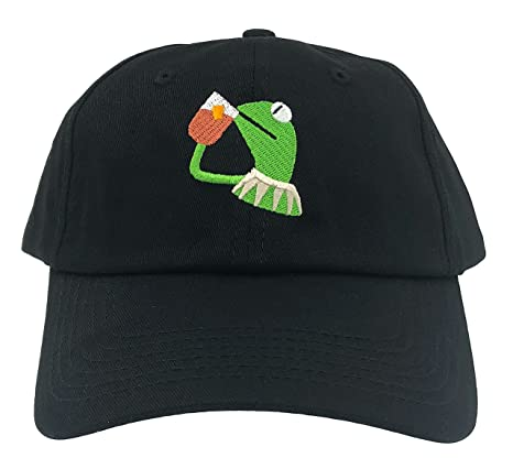 SYWHPS Kermit The Frog Dad Hat Cap Sipping Sips Drinking Tea Champion Lebron  Costume (Black