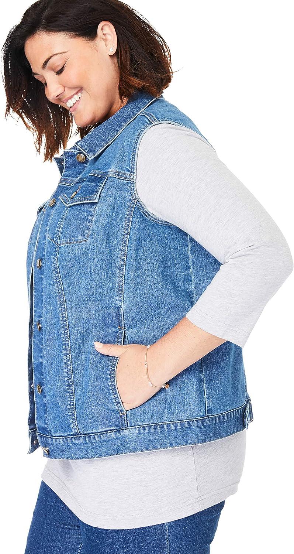 Woman Within Womens Plus Size Stretch Denim Vest