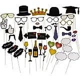42 verschiedene Photo-Props I Bereits zusammengebaut I Für Fotobox in schöner Geschenkverpackung I Tolle Dekoration für Party I Hochzeit von LucroTo