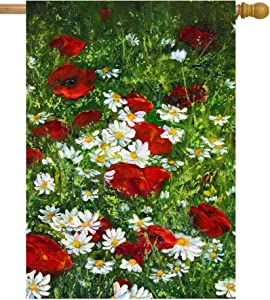 """ShineSnow Spring Summer Poppy Daisies Floral Flower Nature Art House Flag 28"""" x 40"""" Double Sided Polyester Welcome Yard Garden Flag Banners for Patio Lawn Home Outdoor Decor"""