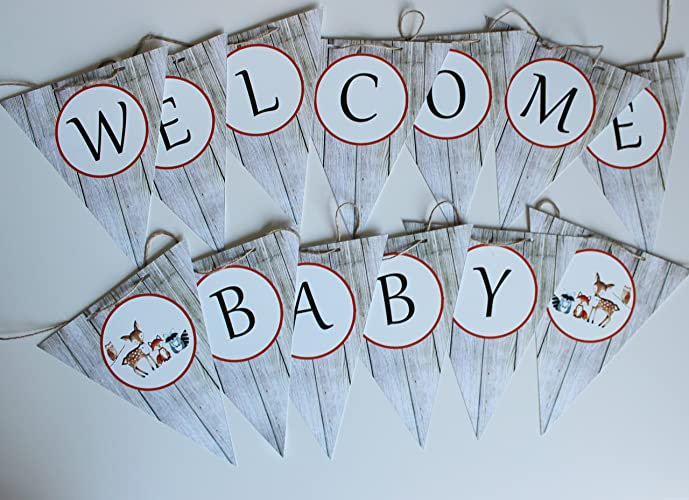 woodland baby shower welcome baby banner woodland baby shower decor welcome baby banner