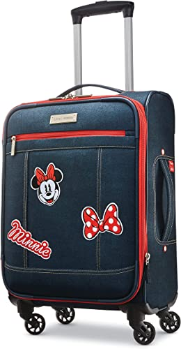 American Tourister Disney Softside Luggage with Spinner Wheels, Minnie Mouse Denim, Carry-On 21-Inch