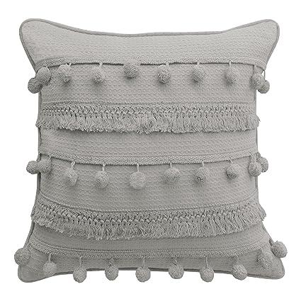 Amazon Boho Living Fiji Pompom Decorative Pillow 40 X 40 Adorable Gray And Beige Decorative Pillows