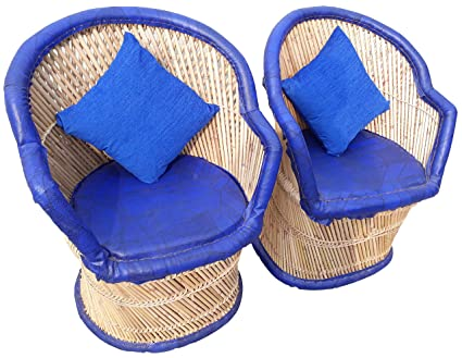 PatioStack Bamboo Leather Handicraft Outdoor Rattan & Wicker Sitting Chairs Furniture Set for Garden / Terrace / Lawn / Balcony / Restaurant / Cafe / Living Room / Drawing Room [ 2 Blue Chairs With Cushion, Size :18*18*34 ]