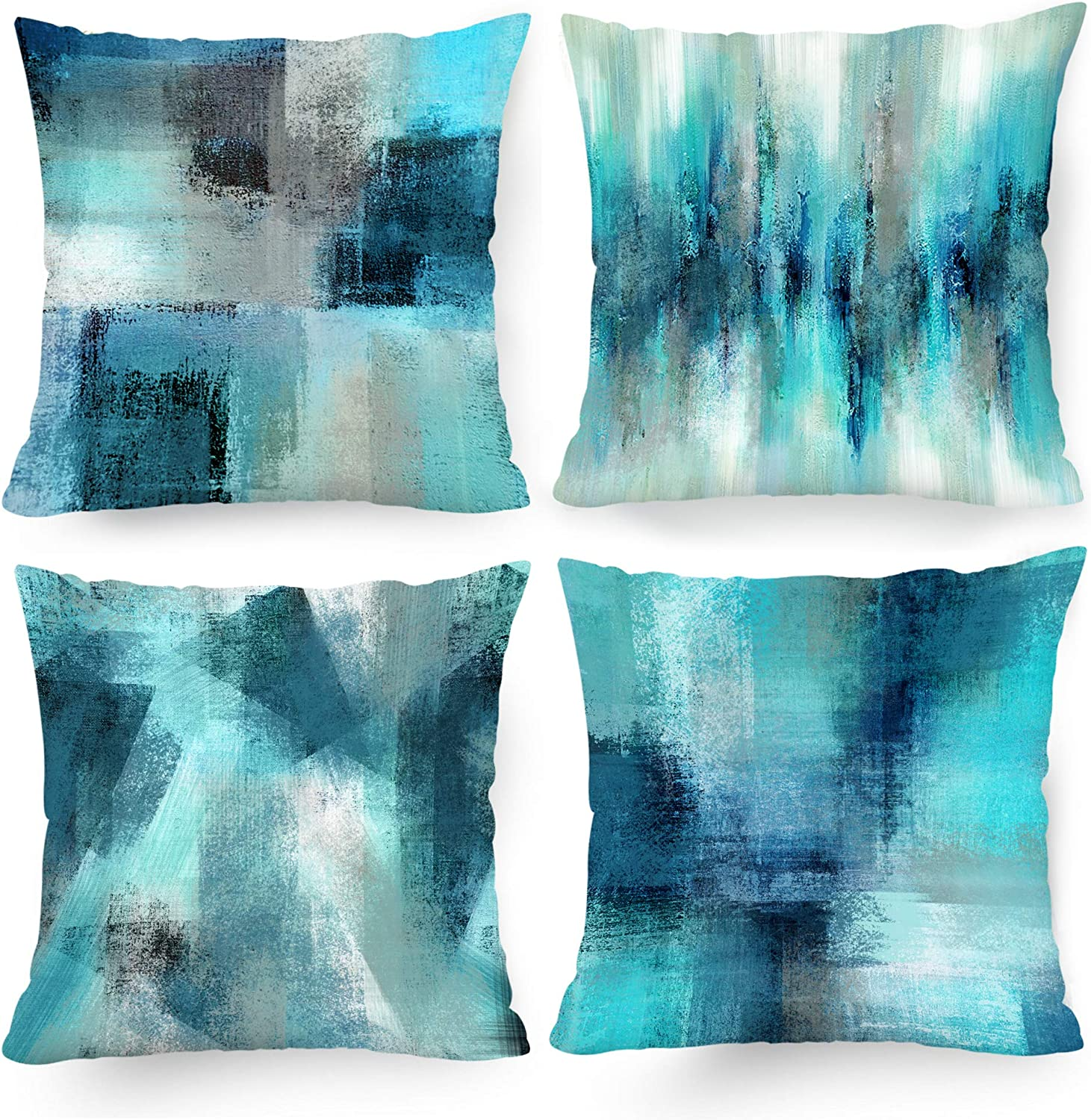 Hexagram Turquoise Grey Decorative Pillow Covers 18 x 18 Inch, Blue Teal and Grey Throw Pillow Covers Set of 4 Soft Polyester Blue Turquoise Cushion Case for Couch Bed Living Room Bedroom Home Decor