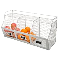 Large Country Rustic Metal Wire Wall-Mounted Hanging Fruit Basket Storage Bin w/Chalkboard Labels, White