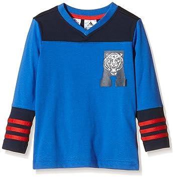 Adidas LB T CO LS - Camiseta para niño, Color Azul Marino/Rojo /