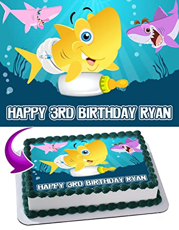 Baby Shark Quarter Sheet Edible Photo Birthday Cake Topper