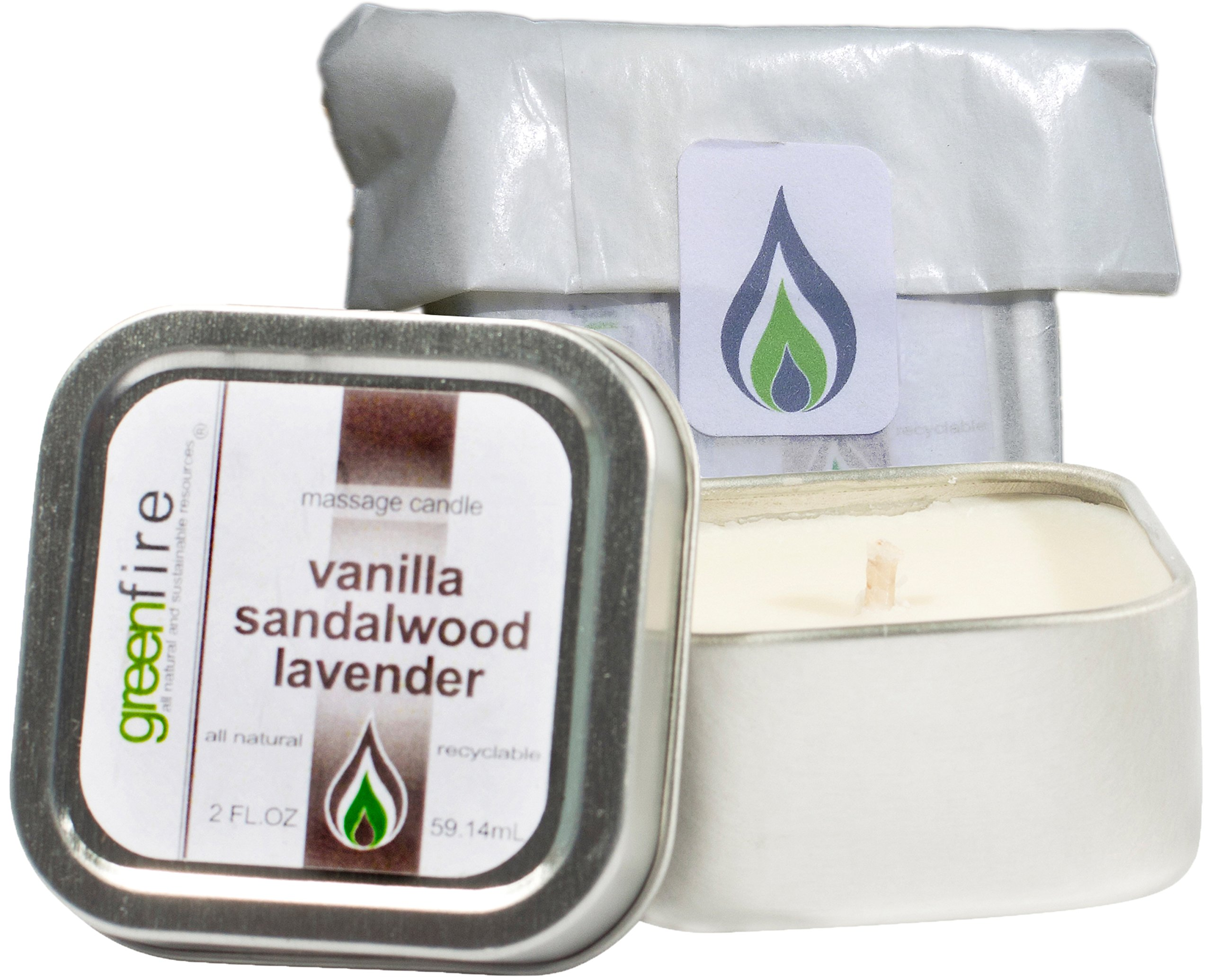 Greenfire All Natural Massage Oil Candle, Lavender Sandalwood Vanilla, Travel Size 2 Fluid Ounce