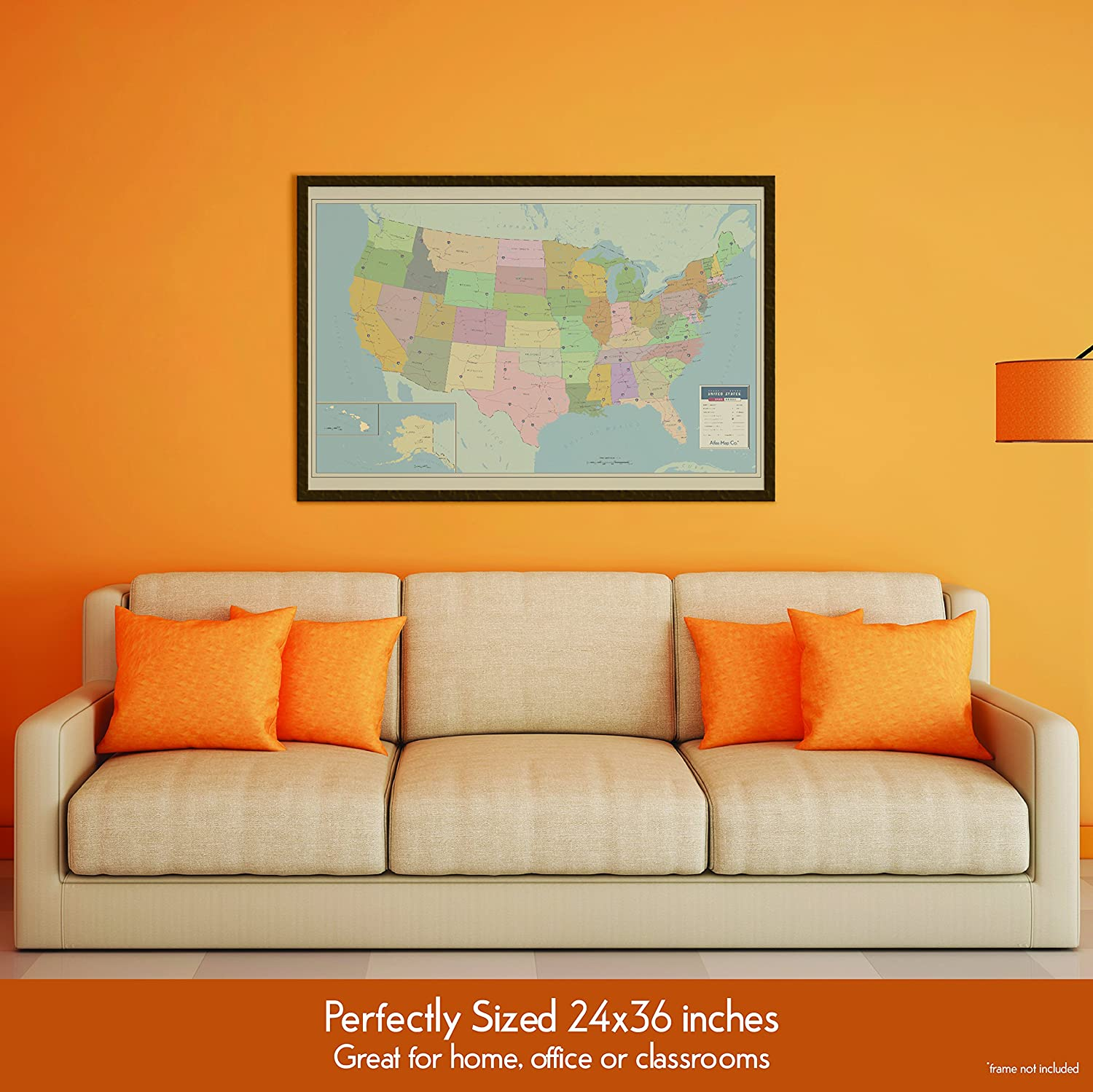 Amazon.com : Map of the United States of America (USA) 24x36 inches ...