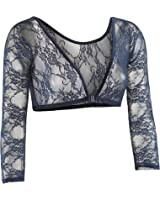 Sleevey Wonders Women's Basic 3/4 Length Slip-on Lace Sleeves Navy