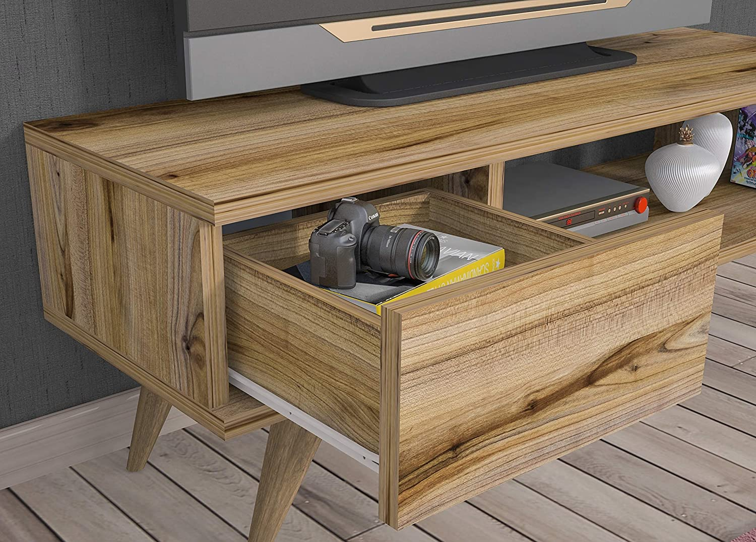 Vivense Maya TV Stand Retro TV Cabinet with Drawer Oak TV Unit for TVs up to 45 inches 90x30 cm