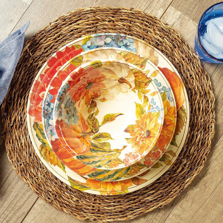 Harvest 12-Piece Melamine Dinnerware Set BPA-free Dishwasher Safe