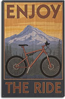 product image for Lantern Press Enjoy The Ride - Mountain Bike Scene (10x15 Wood Wall Sign, Wall Decor Ready to Hang)