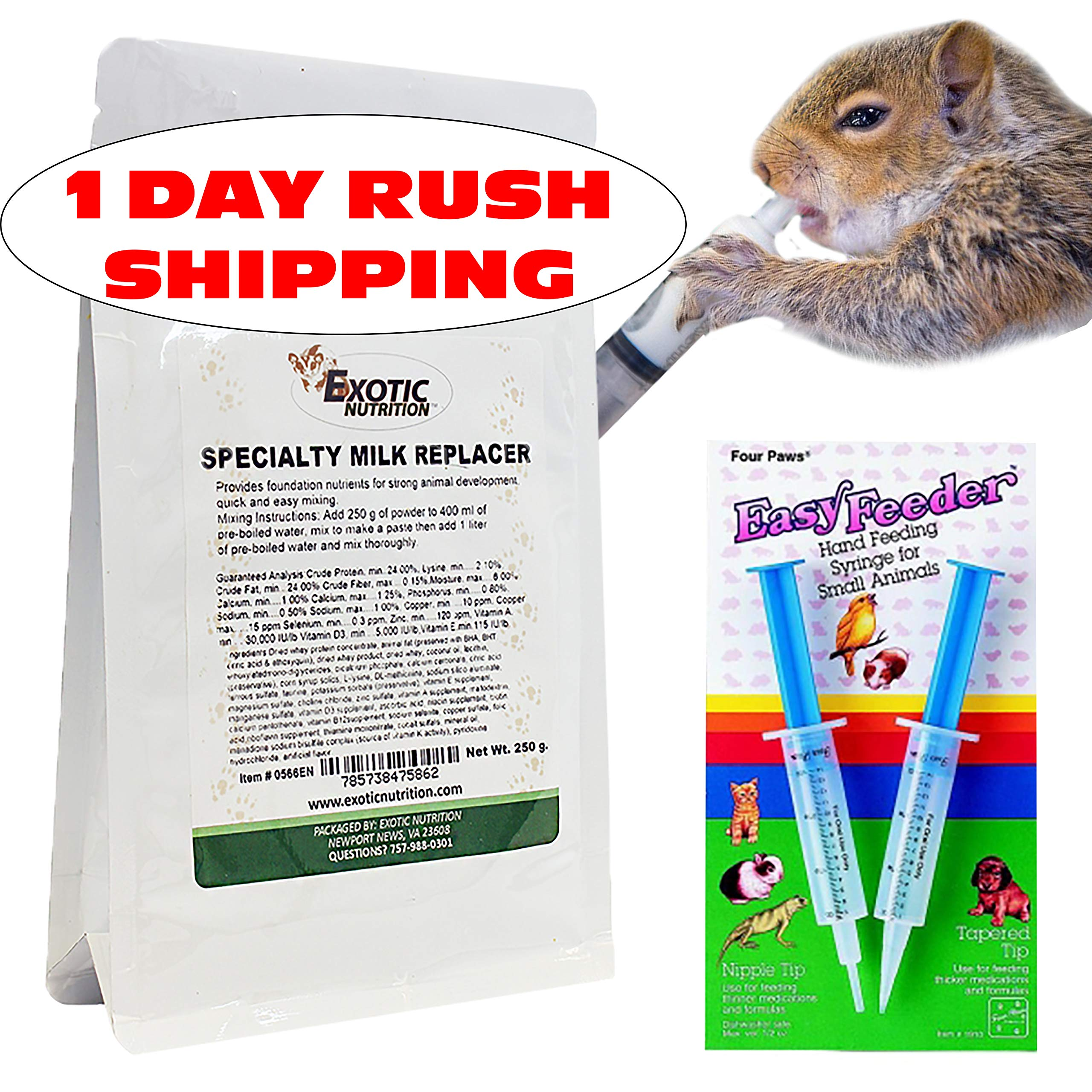 Exotic Nutrition Baby Squirrel Milk Replacer Kit - Formula + Feeding Syringes - Nursing Kit for Baby Squirrels, Rabbits, Opossums & Other Baby Animals by Exotic Nutrition