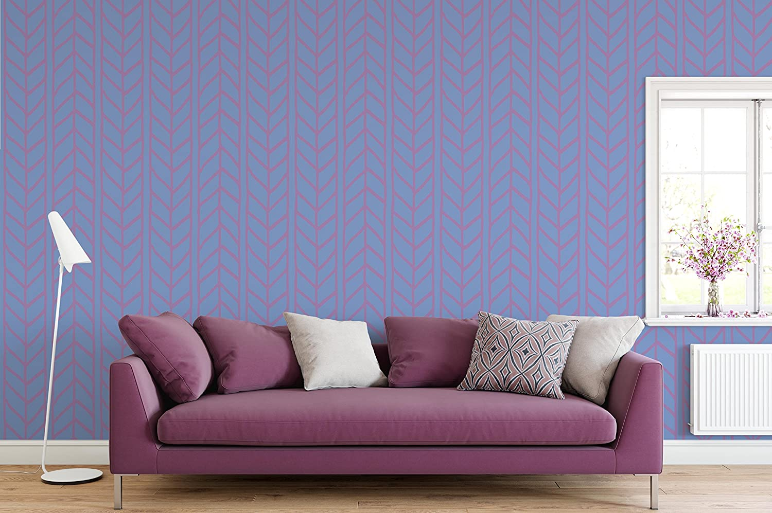Amazon com costacover temporary removable wallpaper herringbone purple weaving braids chevron illustration geometric self adhesive wall paper vinyl