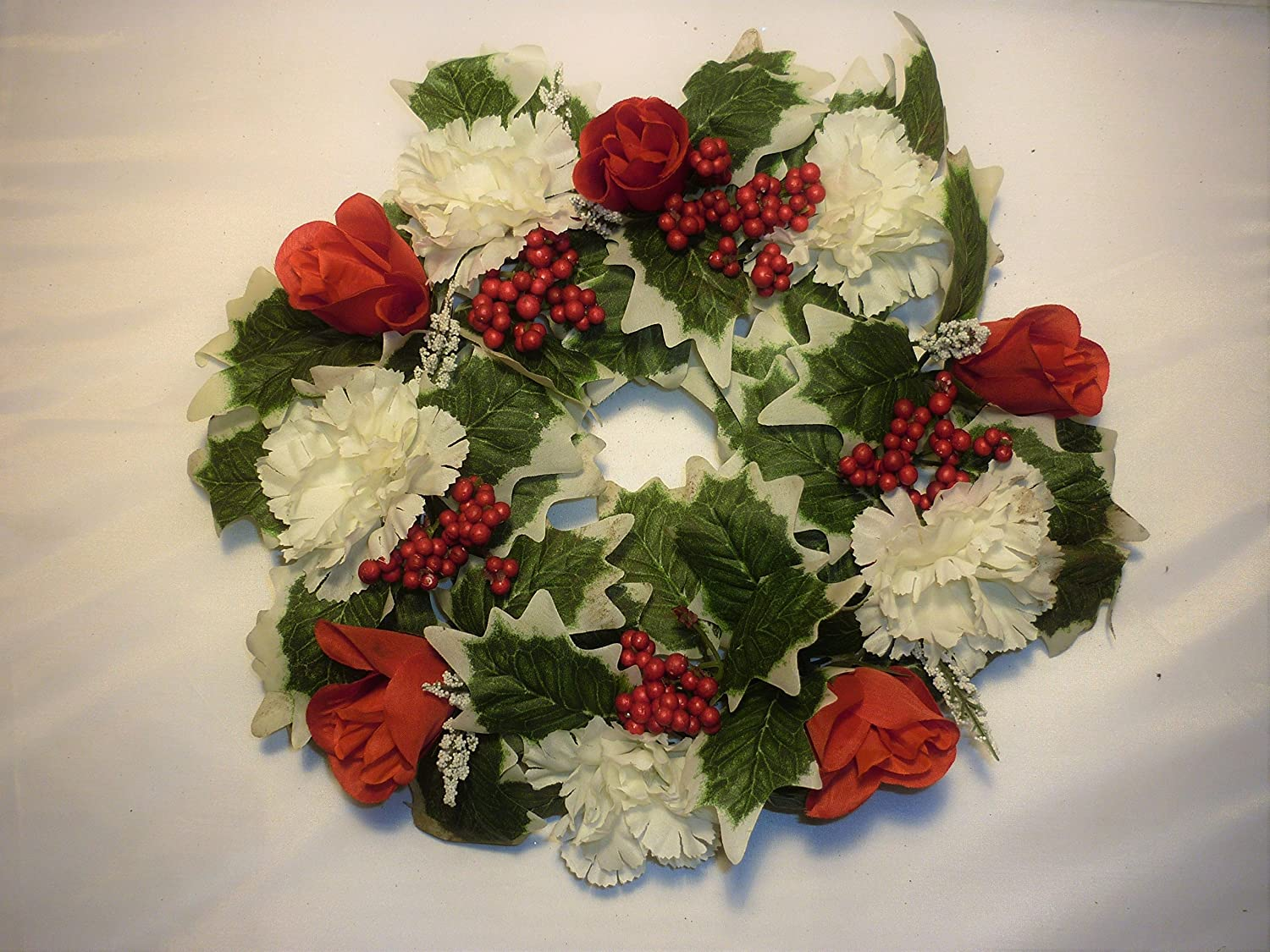 Approx 11 Christmas Wreath Flower Red Roses Cream Carnations Silk