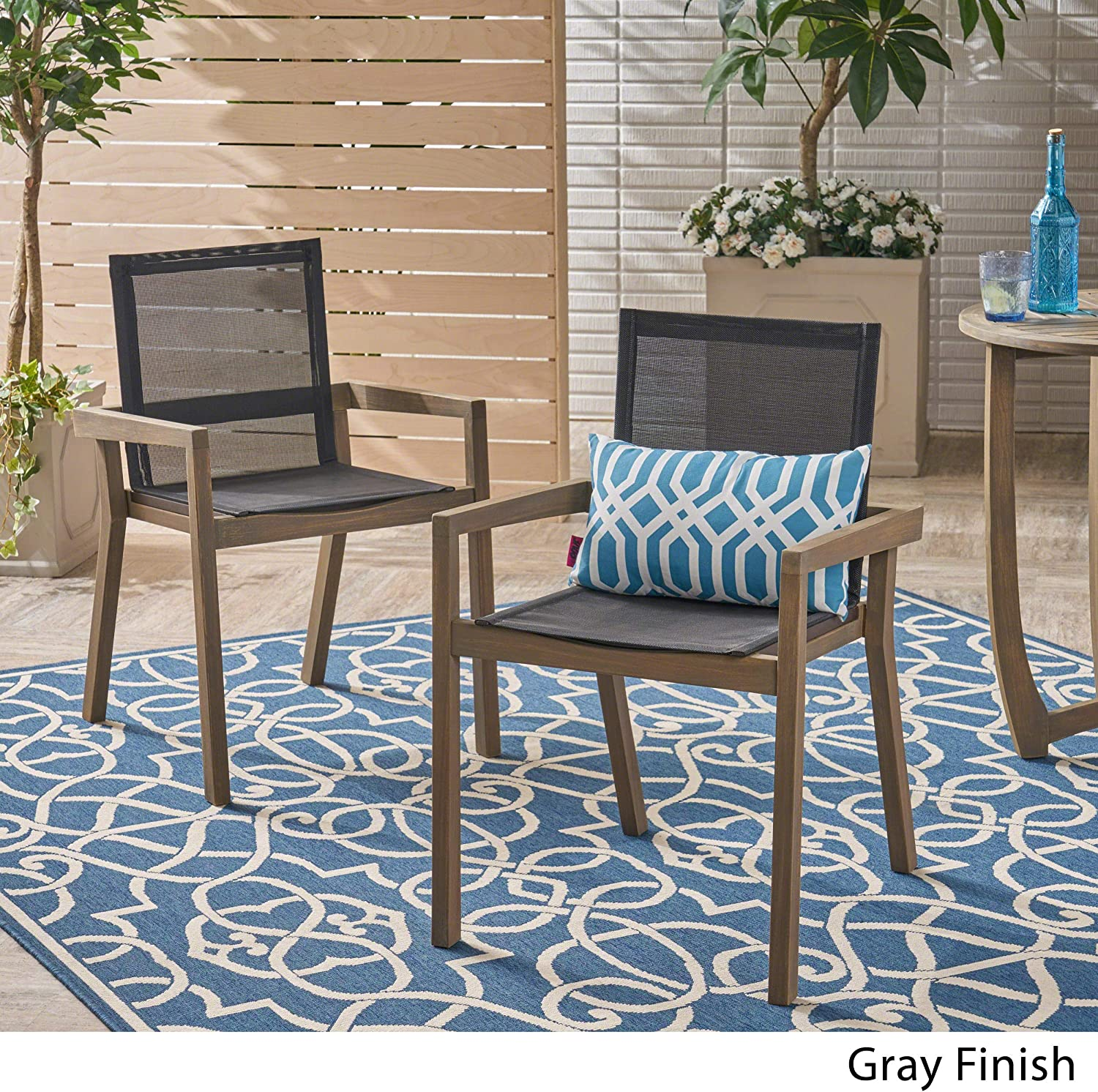 Christopher Knight Home 305156 Jimmy Outdoor Acacia Wood and Mesh Dining Chairs (Set of 2), Gray Finish : Garden & Outdoor