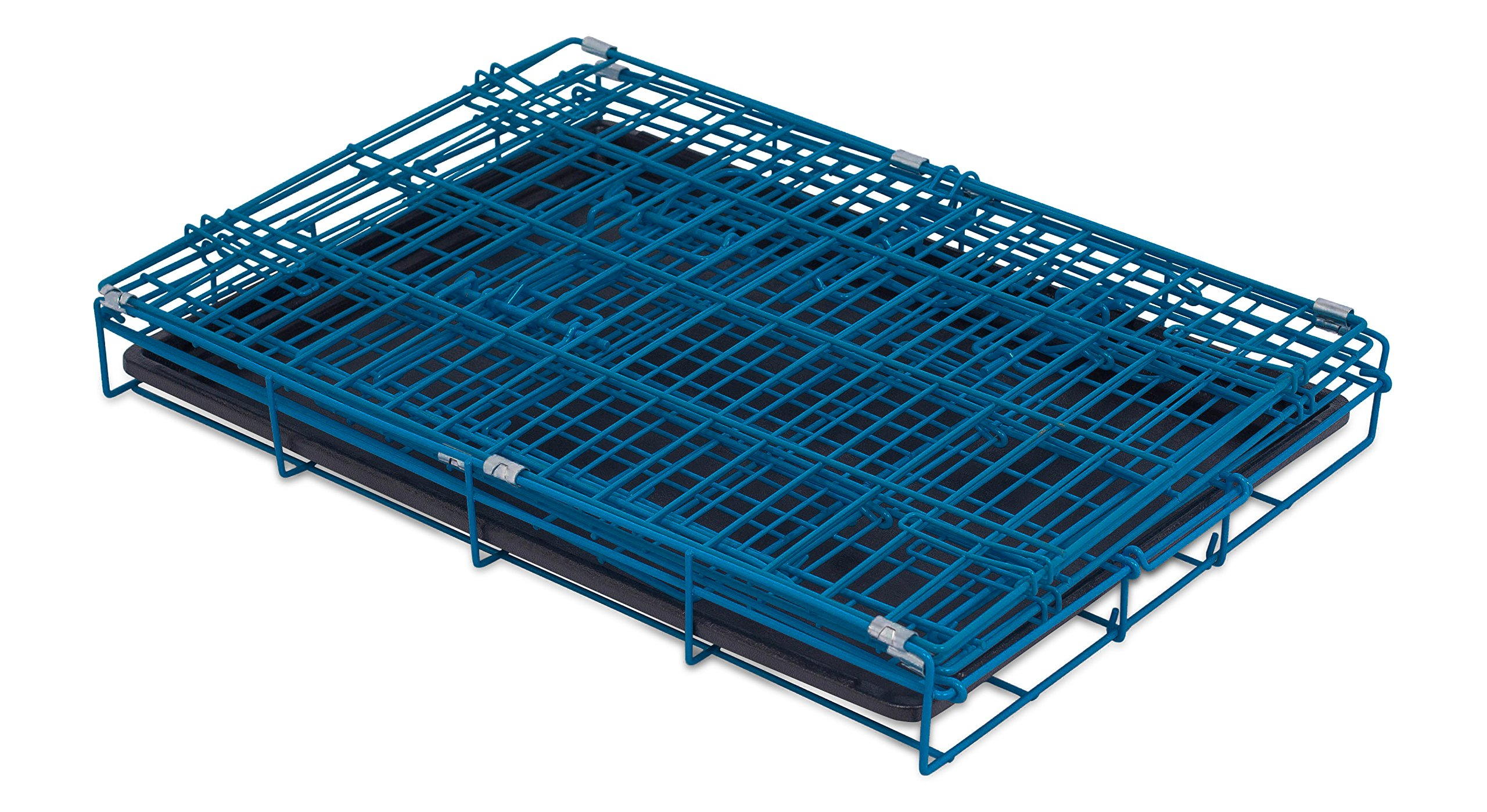 Internet's Best Double Door Steel Crates Collapsible and Foldable Wire Dog Kennel, 24 Inch (Small), Blue by Internet's Best (Image #3)