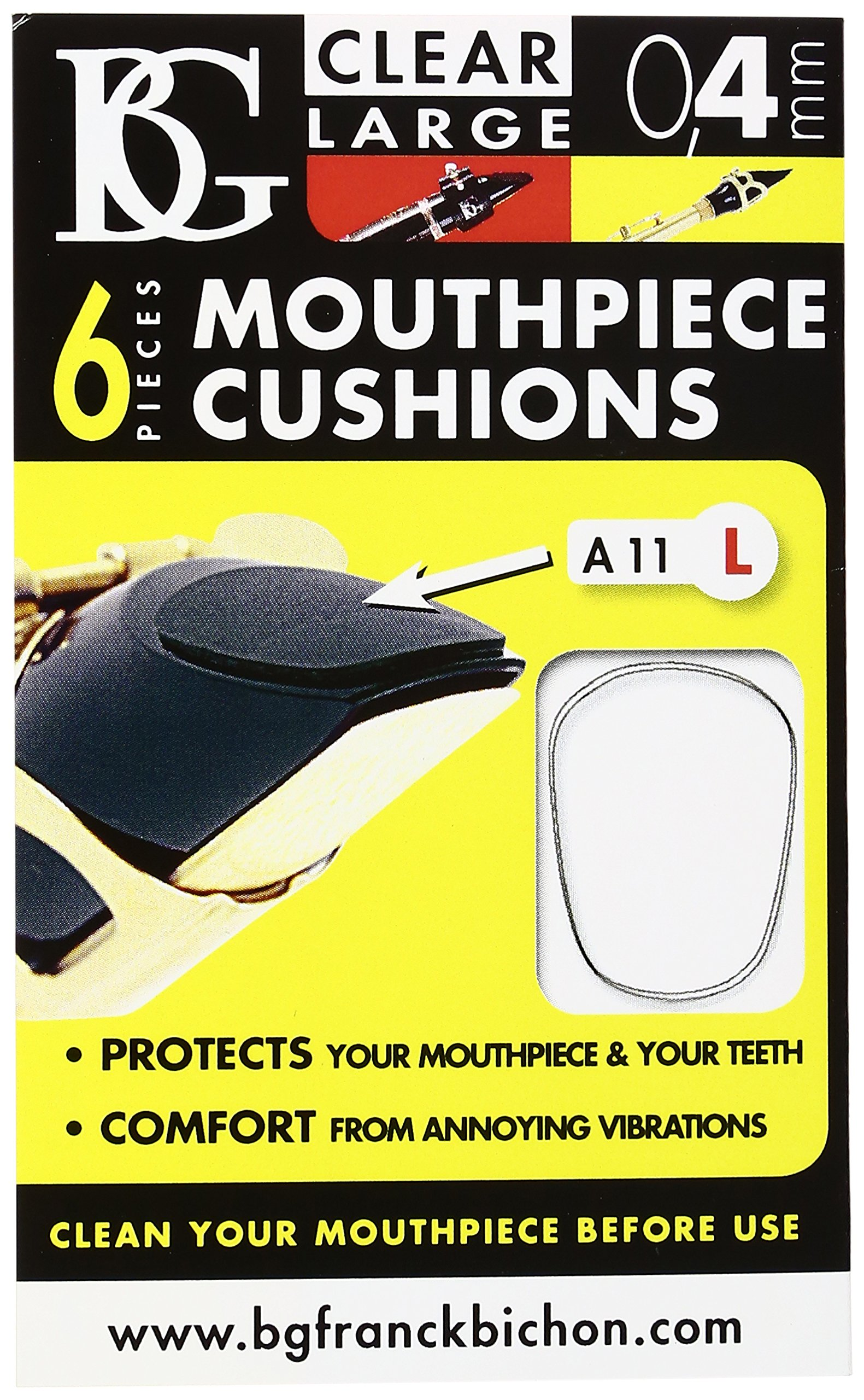 BG A11 L Mouthpiece Patch, Clear, Large 0.4MM, 6 CRT