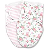 SwaddleMe Original Swaddle Luxe Edition with Easy Change Zipper 2-pk, Watercolor Floral, Small (0-3 Months, 7-14 lbs)