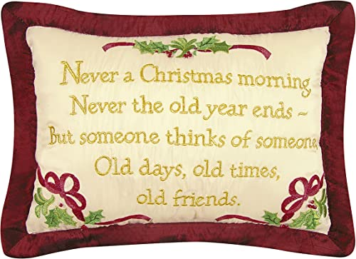 8×12 Inches Faux Silk Embroidery Pillow, Never a Christmas…