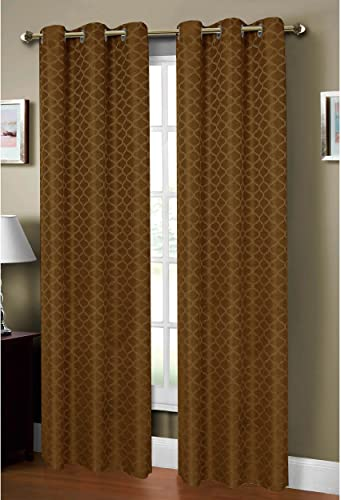 Window Elements Sonata Faux-Linen Jacquard Extra Wide 54 x 84 in. Grommet Curtain Panel, Chocolate