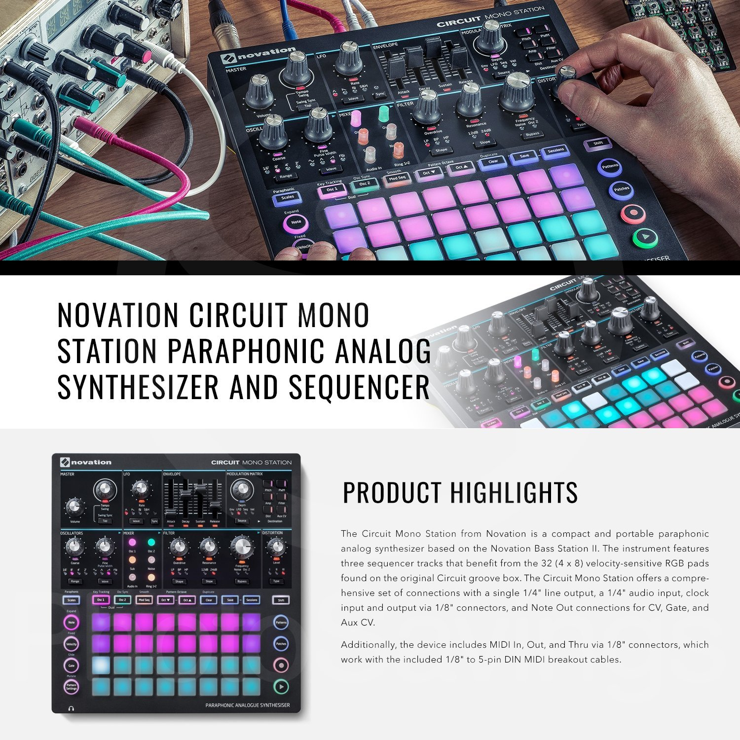 Novation Circuit Mono Station Paraphonic Analog Synthesizer and Sequencer with Basic Accessory Bundle by Photo Savings (Image #2)