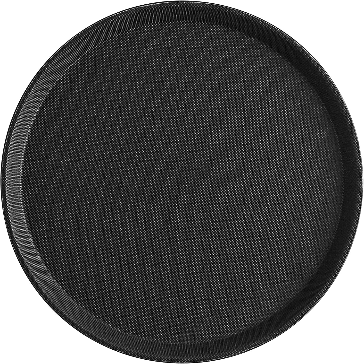 MM Foodservice Set of 2 Non-Slip Serving Tray, Round Non-skid Tray, Professional 14 inch heavy duty serving tray, Black