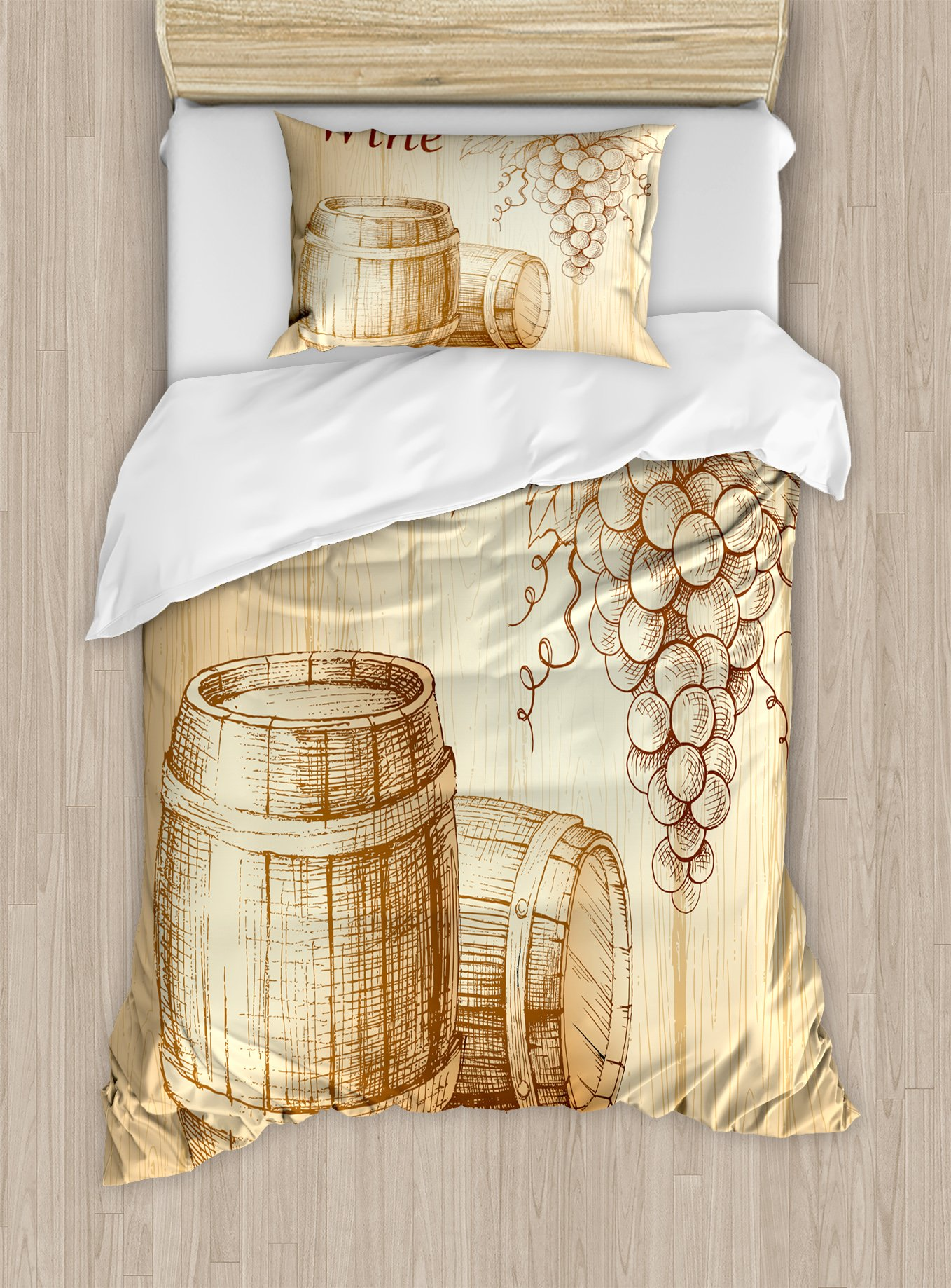 Ambesonne Wine Duvet Cover Set Twin Size, Wooden Barrels and Bunch of Grapes on Wood Backdrop Botany Harvest Theme Artwork, Decorative 2 Piece Bedding Set with 1 Pillow Sham, Brown Peach