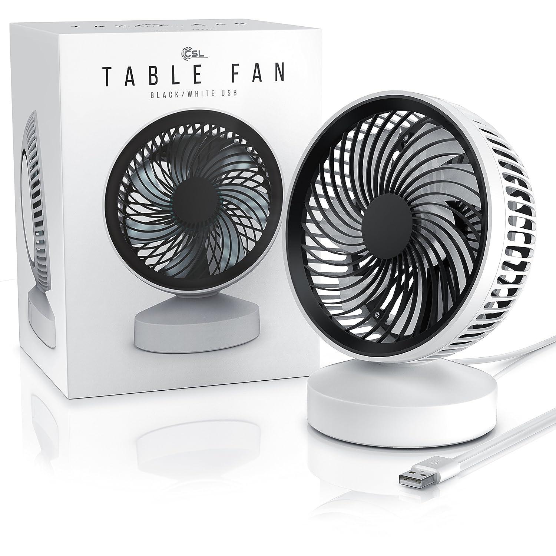 Angle r/églable   Flux d/'air Important USB Ventilateur de Table inclinable /à 25/° env. Interrupteur Marche arr/êt Blanc Noir Desk Fan CSL