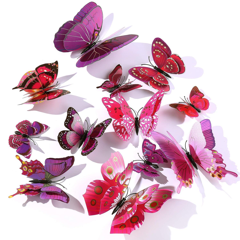 P/úrpura 12 Piezas Mariposa Pegatinas De Pared Etiquetas Engomadas,3D Mariposas Decorativos Adhesivos Murales Para Ni/ños Habitaci/ón Y Sala De Chicas