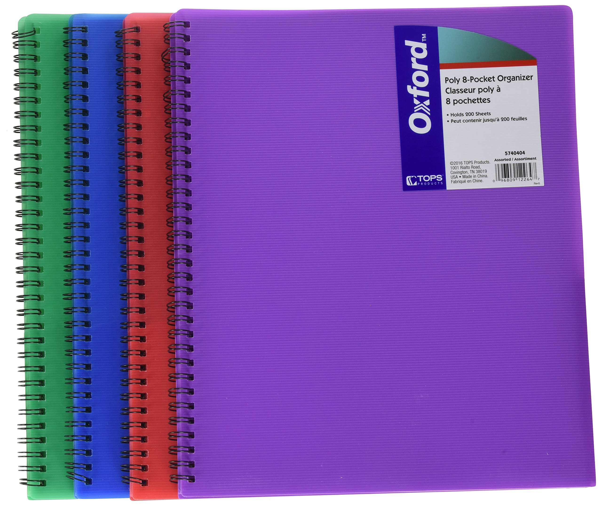 Oxford Poly Organizer Asst 8.5x11 8 Pocket 5740404 Pack Of 20