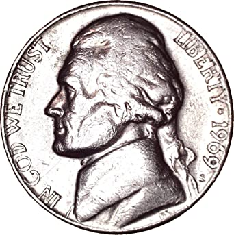 1969 S Jefferson Nickel 5C About Uncirculated at Amazon's