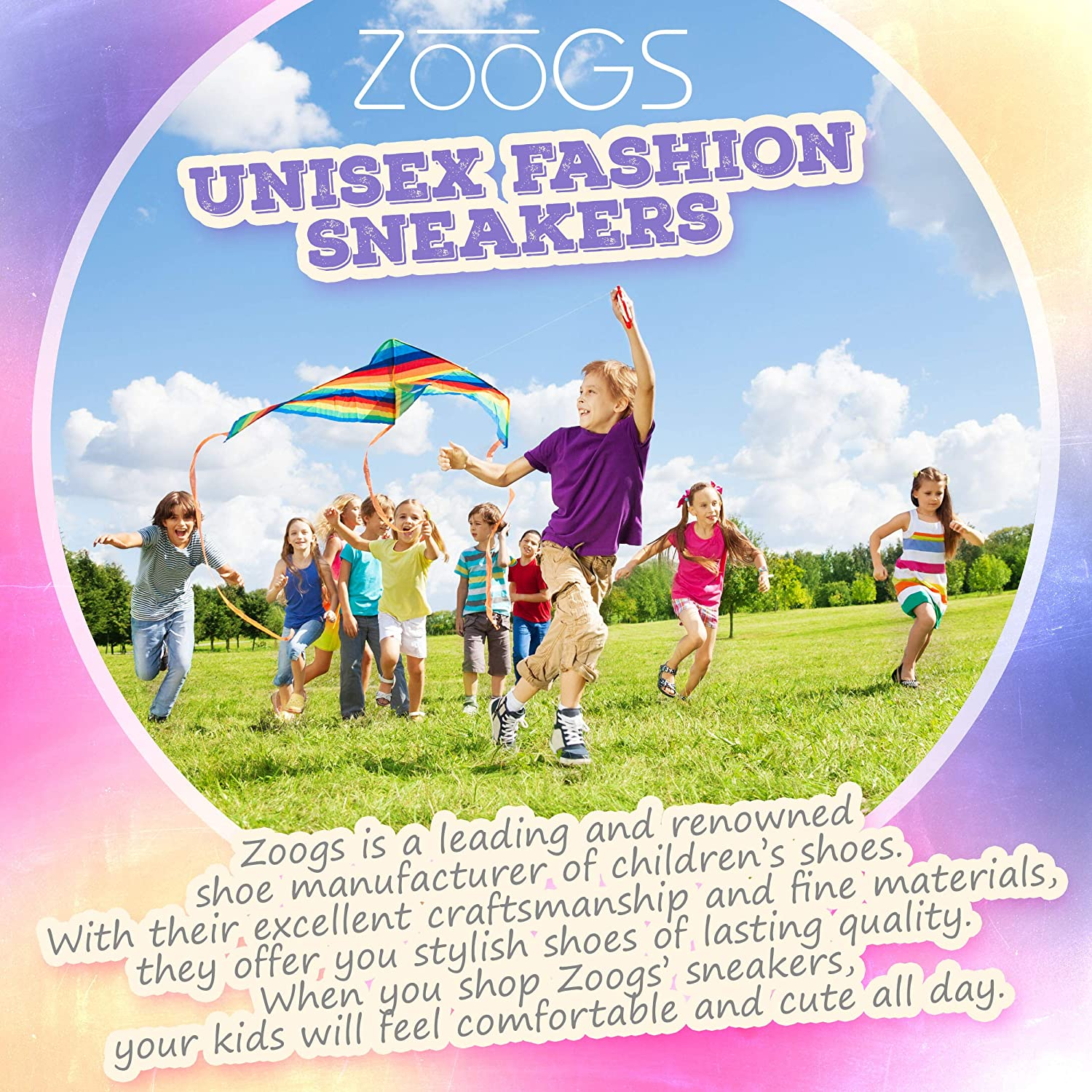 ZOOGS Kids Fashion Sneakers,Black//White,9 M US Toddler 50019//1P9-BLK-T9